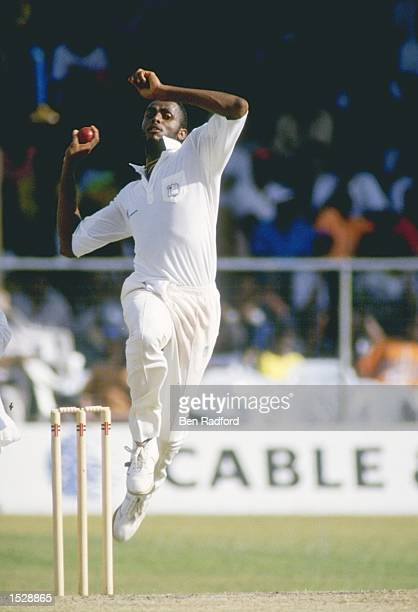 Courtney Walsh of the West Indies bowling during the second test against Pakistan in Barbados Mandatory Credit Ben Radford/Allsport
