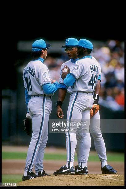 General view of players in a discussion during a game between the Florida Marlins and the San Francisco Giants Mandatory Credit Otto Greule /Allsport