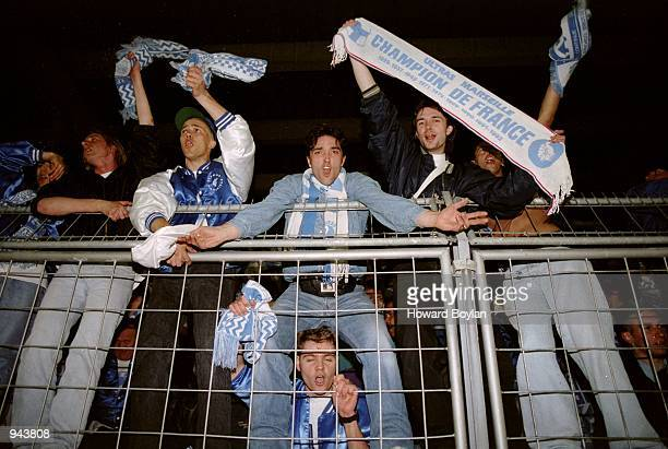 Olympique Marseille fans celebrate victory in the Champions League Group A match against Club Brugge at the Jan Breydel Stadium in Bruges Belgium...