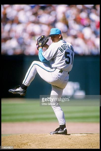Pitcher Trevor Hoffman of the Florida Marlins winds up for the pitch during a game against the San Francisco Giants Mandatory Credit Otto Greule...