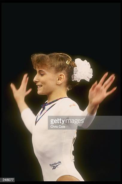 Shannon Miller dismounts during the World Gymnastics Championships in Birmingham Alabama Mandatory Credit Chris Cole /Allsport