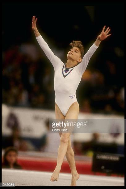 Shannon Miller does her dismount during the World Gymnastics Championships in Birmingham Alabama Mandatory Credit Chris Cole /Allsport