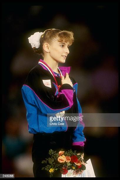 Shannon Miller places her hand over her heart during the World Gymnastics Championships in Birmingham Alabama Mandatory Credit Chris Cole /Allsport