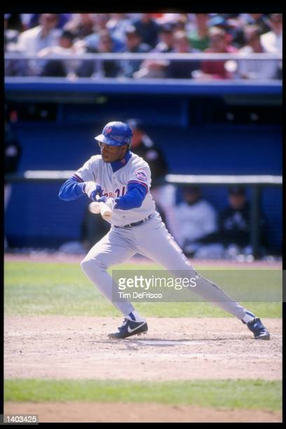 Tony Fernandez of the New York Mets in action during a game against the Colorado Rockies at Shea Stadium in Flushing New York