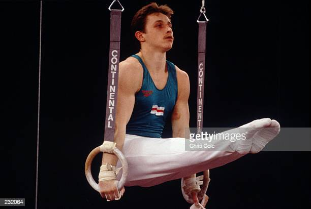 Vitaly Scherbo of Belarus Russia performs on the rings during the World Gymnastics Championships in Birmingham England Mandatory Credit Chris...