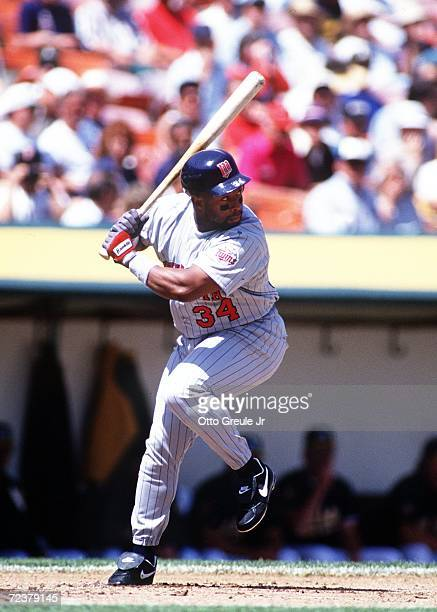 Center Fielder Kirby Puckett prepares to swing during the Twins versus Oakland A's game at the Oakland Coliseum in Oakland California Mandatory...