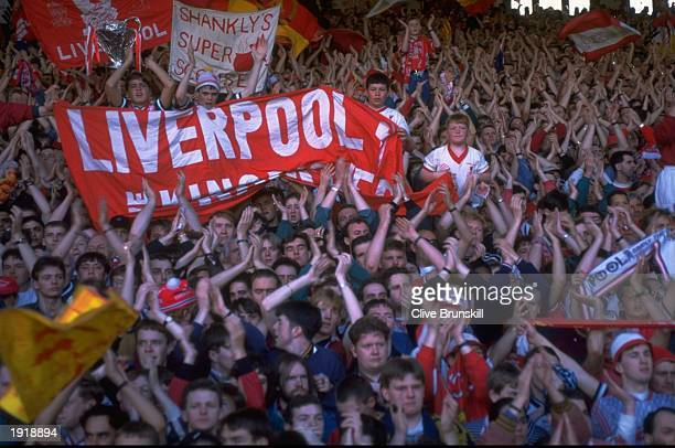 General view of Liverpool fans on the Kop for the last time during the Football Association Carling Premiership matchagainst Norwich at Anfield in...