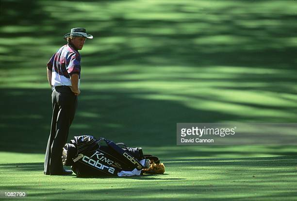 Greg Norman of Australia during the US Masters held at the Augusta National Golf Club in Georgia USA Mandatory Credit David Cannon /Allsport