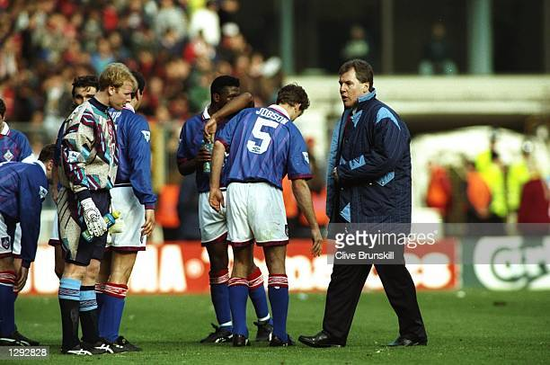 Joe Royle Manager of Oldham Athletic gives his players instructions before extra time against Manchester United during the FA Cup SemiFinal at...