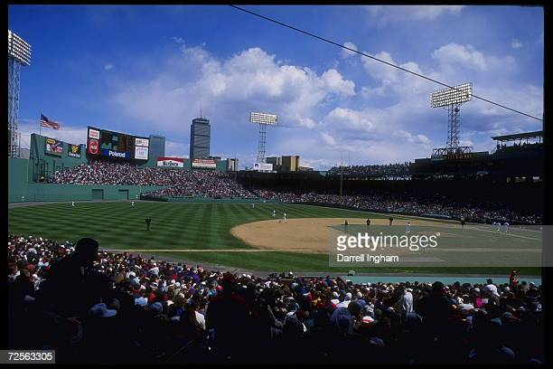 Portrait of Fenway Park in Boston Massachusetts where the home team Boston Red Sox play the Chicago Sox