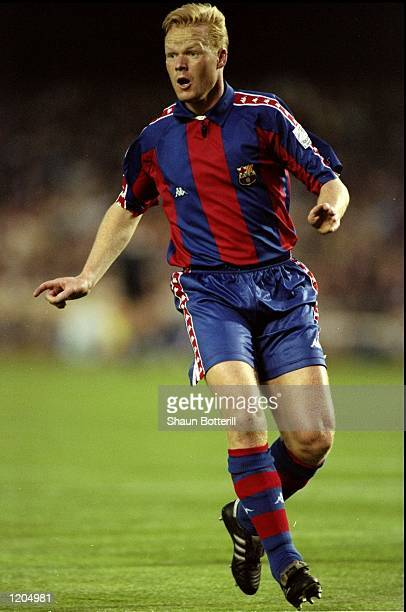 Ronald Koeman of Barcelona in action during the European Cup Semi-Final match against Porto played in the Nou Camp Stadium in Barcelona, Spain. The...