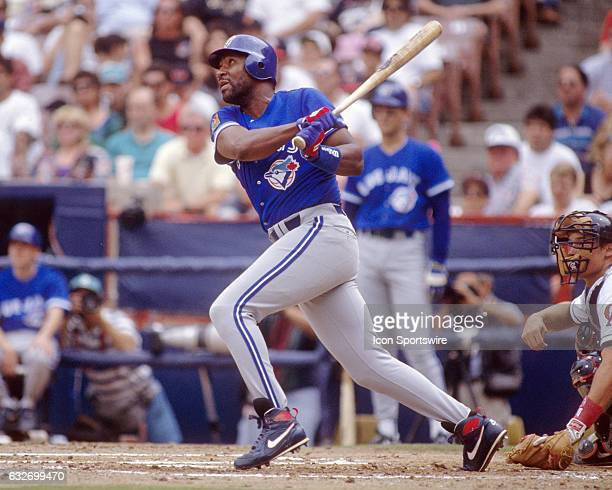 Toronto Blue Jays outfielder Joe Carter in action during a game against the California Angels played at Angel Stadium of Anaheim in Anaheim CA