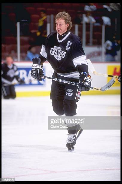 Center Wayne Gretzky of the Los Angeles Kings looks on during a game against the Anaheim Mighty Ducks at Arrowhead Pond in Anaheim California The...