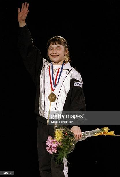 Dominique Moceanu waves to the crowd during the Visa Gymnastics Challenge in Fairfax Virginia Mandatory Credit Doug Pensinger /Allsport