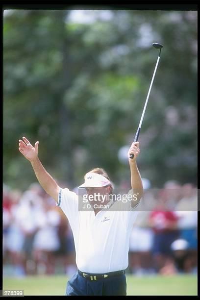 Raymond Floyd celebrates during the Senior Championship at the PGA National Resort. Mandatory Credit: J.D. Cuban /Allsport