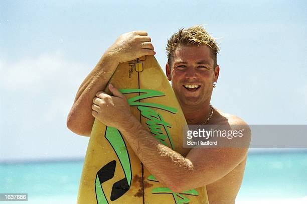 Shane Warne of Australia goes surfing during their tour to the West Indies Mandatory Credit Ben Radford/Allsport