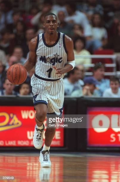 Anfernee ''Penny'' Hardaway of the Orlando Magic dribbles the ball down court during their 116 104 victory over the Cleveland Cavaliers at the...