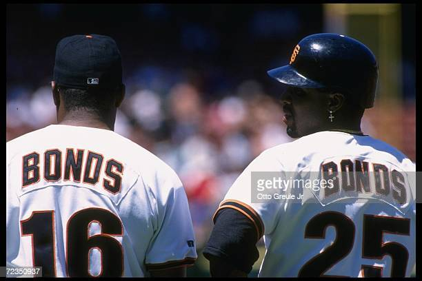 Bobby Bonds and son Barry of the San Francisco Giants look on during a game against the Florida Marlins at 3Com Park in San Francisco, California....