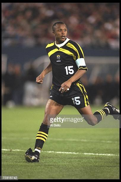 Doctor Khumalo of the Columbus Crew looks on during an MLS game against the New York/New Jersey Metrostars played at the Meadowlands in East...