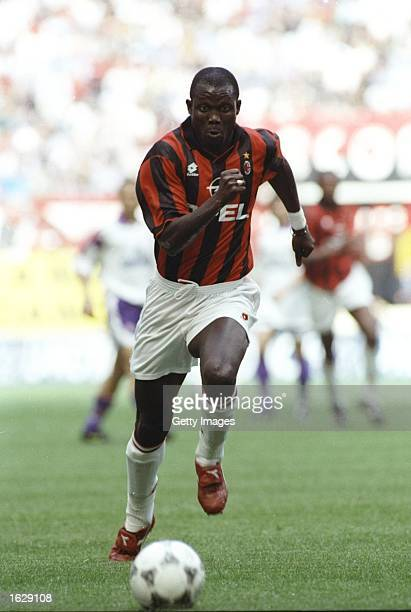 George Weah of AC Milan in action during the Serie A Scudetta in Milan, Italy. AC Milan won the match. \ Mandatory Credit: Allsport UK /Allsport