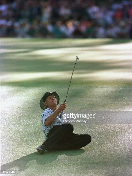 Greg Norman of Australia narrowly misses holing his chip shot to the 15th green during the final round of the 1996 Masters at Augusta National Golf...