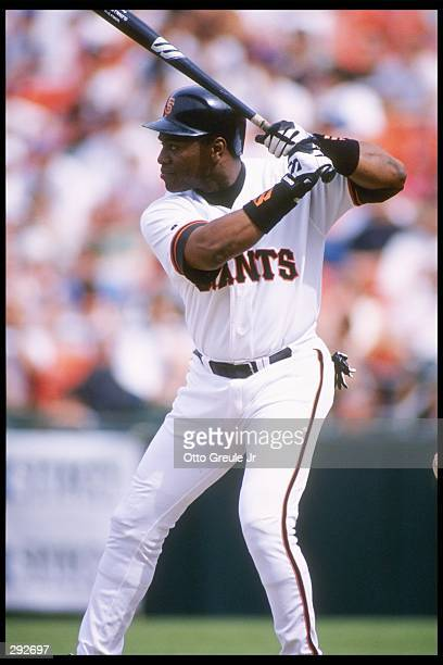 Mel Hall of the San Francisco Giants steps up to bat during a game against the Chicago Cubs at 3Com Park in San Francisco California The Cubs won the...