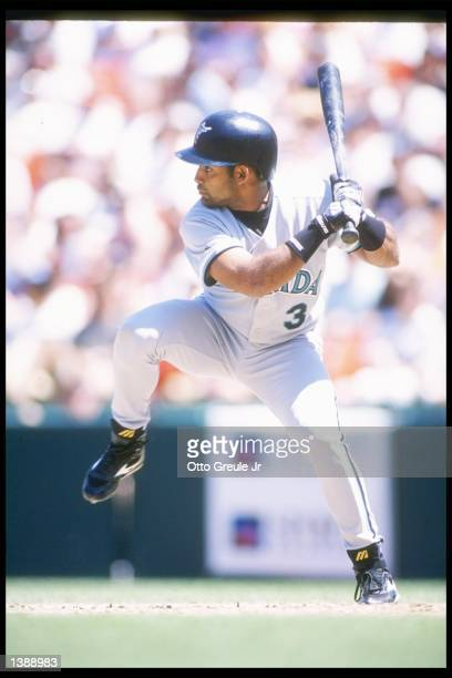 Quilvio Veras of the Florida Marlins swings at the ball during a game against the San Francisco Giants at 3Com Park in San Francisco California The...