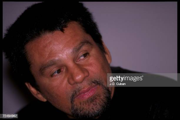 Roberto Duran before a bout against Hector Camacho at the Biltmore Hotel in Los Angeles California Mandatory Credit JD Cuban /Allsport