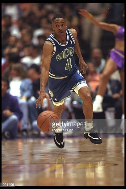 Spud Webb of the Minnesota Timberwolves moves the ball against the Los Angeles Lakers during a game played at the Great Western Forum in Inglewood...