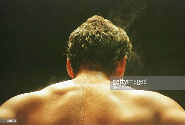 The back of soccer star Diego Maradona after a charity boxing match against Falucho Lacier former WBA Flyweight world champion at the General Paz...
