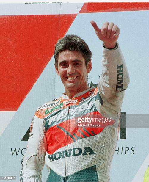 World Champion Mick Doohan leads second place rider Alex Barros and third Loris Capirossi at the 500cc Indonesian Motorcycle Grand Prix at Sentul...