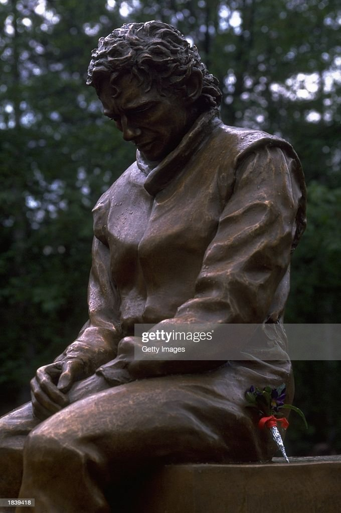 A monument to the late Formula One driver Ayrton Senna of Brazil who died in 1994 during the San Marino Grand Prix in Imola.