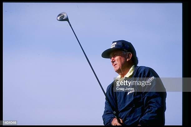 Al Geiberger watches his long shot during The Tradition tournament at the Cochise Course of the Desert Mountain Resort in Scottsdale Arizona...