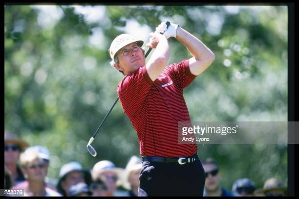 Bob Murphy hits his ball during the third round at the Senior PGA Championship in Palm Beach Gardens, Florida. Mandatory Credit: Andy Lyons /Allsport