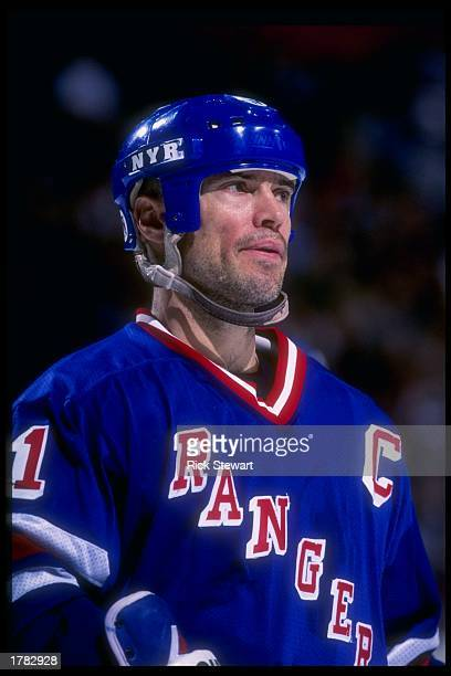 Center Mark Messier of the New York Rangers looks on during a game against the Buffalo Sabres at the Marine Midland Arena in Buffalo New York The...