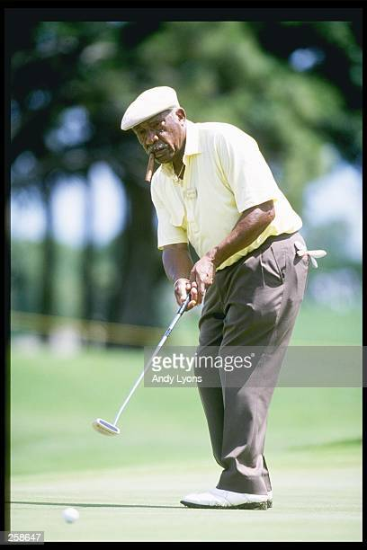 Charlie Sifford hits the ball during the Senior''s Championship in Palm Beach Gardens, Florida. Mandatory Credit: Andy Lyons /Allsport