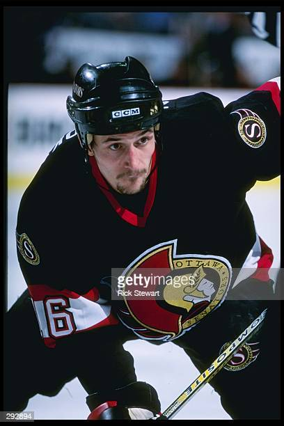Defensemen Sergei Zholtok of the Ottawa Senators waits for a pass during a game against the Buffalo Sabres at the Marine Midland Arena in Buffalo,...