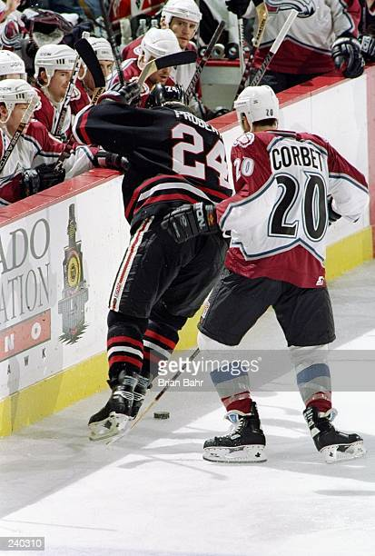 Forward Bob Probert of the Chicago Blackhawks in action against forward  Rene Corbet of the Colorado 637189c9a
