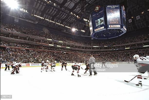 General view of a face off during a playoff game between the Buffalo Sabres and the Ottawa Senators at the Marine Midland Arena in Buffalo New York...
