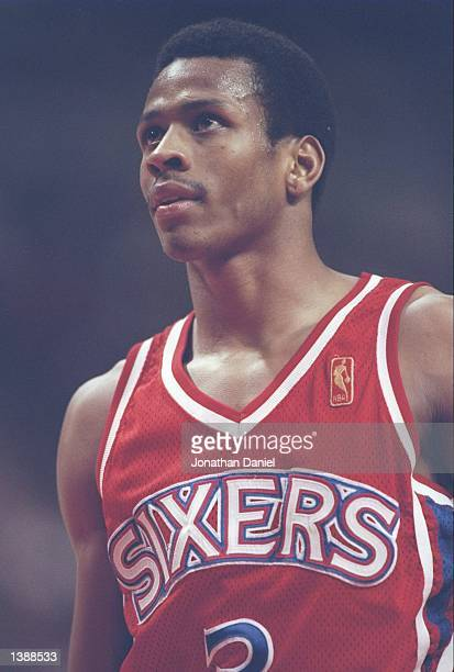 Guard Allen Iverson of the Philadelphia 76ers stands on the court during a game against the Chicago Bulls at the United Center in Chicago Illinois...