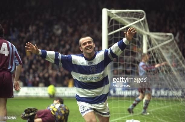 John Spencer of Queens Park Rangers celebrates a goal during the Nationwide Division One match against Tranmere at Loftus Road in London England...