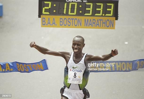 Lameck Aguta celebrates winning the Boston Marathon in Natick Massachusetts Mandatory Credit Matthew Stockman /Allsport