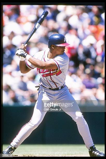 Left fielder Andruw Jones of the Atlanta Braves stands in the battes box during a game against the San Francisco Giants at 3Comm Park in San...