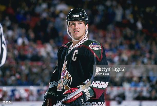 Leftwinger Keith Tkachuk of the Phoenix Coyotes looks on during a game against the Colorado Avalanche at McNichols Sports Arena in Denver Colorado...
