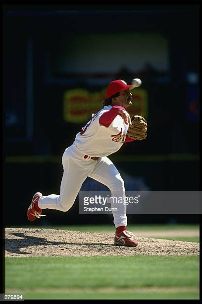 Pitcher Dennis Eckersley of the St Louis Cardinals releases a pitch during the Cardinals 42 loss to the Houston Astros at Busch Stadium in St Louis...