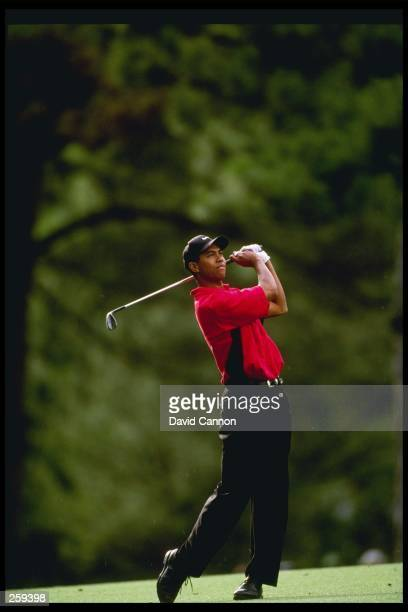 Tigers Woods swings his club at the Masters at the Augusta National Country Club in Augusta Georgia Woods won the tournament Mandatory Credit David...