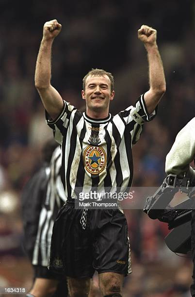Alan Shearer of Newcastle celebrates the team's win over Sheffiled United after the match between Newcastle United and Sheffield United in the...