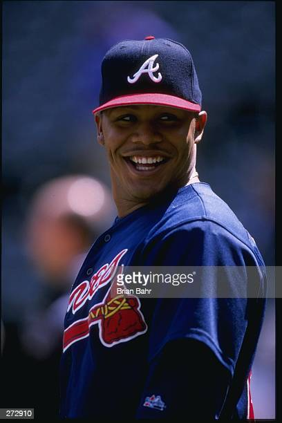 Andruw Jones of the Atlanta Braves during the Braves 53 victory over the Colorado Rockies at Coors Field in Denver Colorado Mandatory Credit Brian...