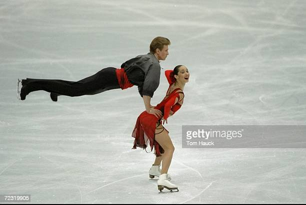 Anjelika Krylova/Rus skates with partner Oleg Ovsyannikov/Rus in the Ice Dancing competion as they win 1st place during the World Figure Skating...
