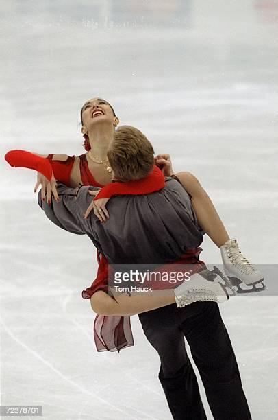 Anjelika Krylova/Rus skates with partner Oleg Ovsyannikov/Rus in the Ice Dancing competion during the World Figure Skating Championships at Target...